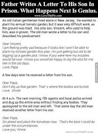 father writes a letter to his son in prison what happens next is