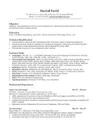 Sample Resume For Software Engineer With One Year Experience Cover Letter Java Sample Resume Java Sample Resume Experience
