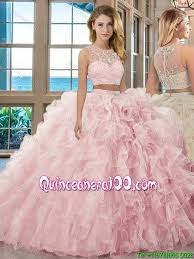 light pink quinceanera dresses fashionable gown scoop brush baby pink two