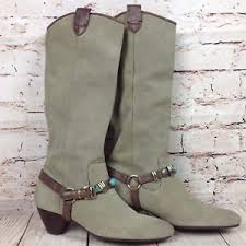 s boots calf size s boots size 7 mid calf cowboy suede buckle turquoise