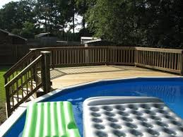 incomparable prefabricated above ground pool decks with inflatable