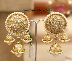 heavy diamond earrings heavy polki jhumkas photo earrings indian