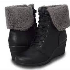 lyst ugg uptown emalie leather wedge boots in black 49 ugg shoes nib ugg zea leather uptown wedge boots from