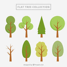 flat trees collection vector free
