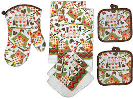 whimsical owl store owl kitchen towel set great for fall set of 7