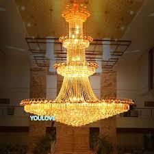 led big gold crystal chandelier lights fixture modern crystal