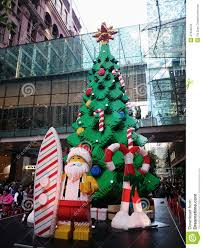 lego christmas tree pitt street mall sydney australia editorial