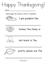 Thanksgiving Worksheets For 3rd Grade Rearrange The Words To Form A Sentence Thanksgiving Worksheet