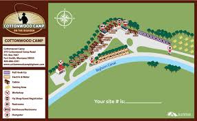 Montana Road Report Map by Campground Map Cottonwood Camp On The Bighorn Fort Smth Mt