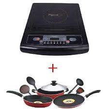 Non Stick Pan For Induction Cooktop Pigeon Combo Induction Cooktop Rapido Crystal 8 Pc Non Stick