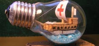 how to recycle an old light bulb into a ship in a bottle novelty