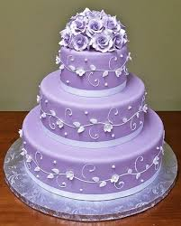 purple color wedding cakes combination of white and purple