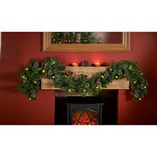 pre lit garland with cones berries 6ft wreaths garlands b m
