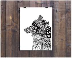 art black and white art pen and ink animals wolf pup dog