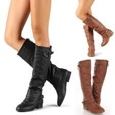 s zipper flat heel buckle knee high boots