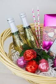 date basket diy glitter chagne bottles and a s date in a basket