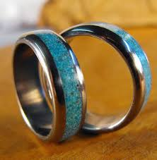 Turquoise Wedding Rings by Titanium Rings Wedding Rings Turquoise Rings Wedding Band Set