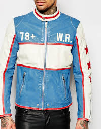 leather racing jacket diesel leather motoracing jacket l racing wolf rule in blue blue