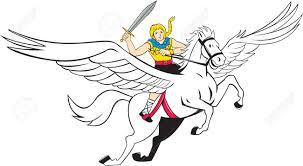 illustration of a valkyrie of norse mythology female rider amazon
