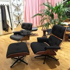 limited edition eames lounge chair and ottoman in twill fabric