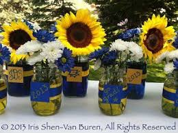 table centerpieces with sunflowers personalized mason jar floral centerpieces grad parties
