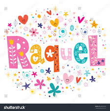 raquel name decorative lettering type stock vector 289654445