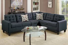 Fabric Sectional Sofas Poundex F6937 4 Pcs Black Fabric Sectional Sofa Set