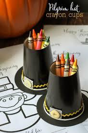 thanksgiving cups pilgrim hat crayon cups