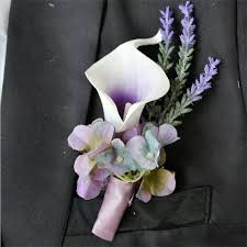boutonniere cost 4pieces lot purple calla flower corsage groom groomsman