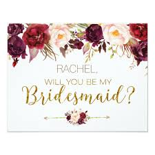 bridesmaid invitations uk floral autumn will you be my bridesmaid card zazzle co uk