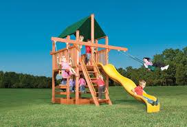 Double Swing Play King Woodplay Spacesaver Playhouse Xl 5 U0027 W Double Swing Arm