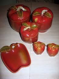 vintage red apple glazed ceramic kitchen canister 3 spoon rest