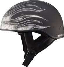 flat black motocross helmet 61 04 gmax gm65 skull flame half helmet 229134