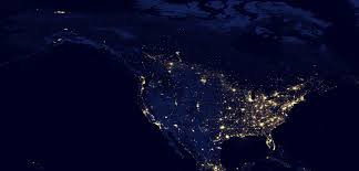 World Map Of The United States by Night Satellite Photos Earth U S Europe Asia World