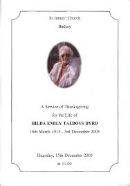 byrd hilda emily talboys order of service for a thanksgiving