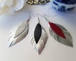 80s feather earrings boho statement earrings leather feather earrings leather