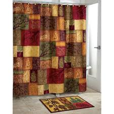 Green And Brown Shower Curtains Luxury Motif Themed Shower Curtain Mosaic Design Square Pattern