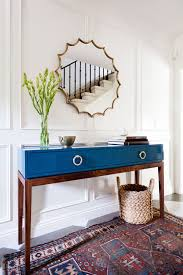 Blue Console Table Home Tour A Youthful Whimsical L A Home Vases Console