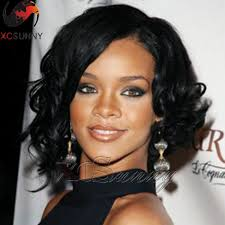 pictures of black ombre body wave curls bob hairstyles find more human wigs information about rihanna loose curl short