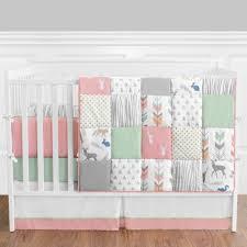 Girls Nursery Bedding Set by Decor Sweet Jojo Designs Woodsy 9 Piece Crib Bedding Set With