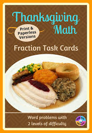 thanksgiving math fraction task cards for ells mainstream