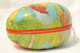 vintage paper mache easter eggs easter egg candy container western germany paper papier mache egg