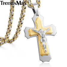 cross with jesus necklace images Trendsmax jesus cross pendant necklace for men gold silver jpg