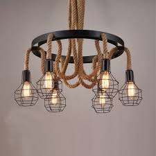 Antique Pendant Light E27 E26 Base Nordic Hemp Rope Twine Retro Vintage Pendant Light
