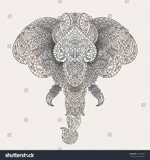 vintage vector elephant head tribal ornaments stock vector