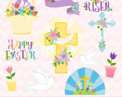 Easter Decorations Clipart by Easter Cross Etsy