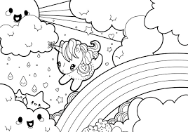 coloring pages download free rainy rainbow unicorn scene coloring page download free vector