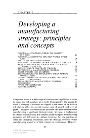 it resume summary developing a manufacturing strategy principles and concepts inside