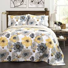 Lush Decor Leah Grey And Yellow Floral 3 Piece Quilt Set Free