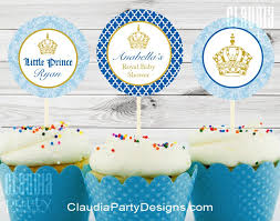 royal prince baby shower cupcake toppers little prince party